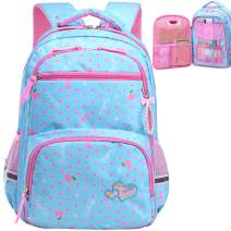 Water Resistant Girls Backpack for Primary Elementary School Large Kids Bookbag Laptop Bag (Large, Style 1 - Sky Blue)