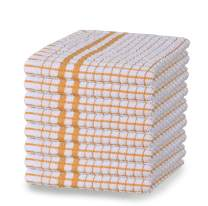 GLAMBURG Terry Windowpane Kitchen Dish Towels 16x26 Set of 8, Highly Absorbent Tea Towels, Bar Towels, Cleaning Towels, Kitchen Towels with Hanging Loop - Mustard
