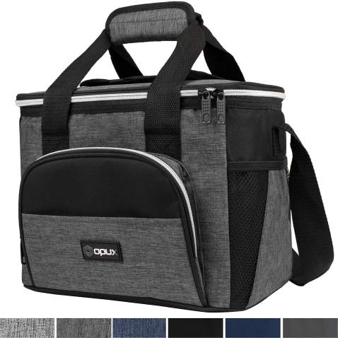 OPUX Insulated Collapsible Soft Cooler 9 Quart | Lunch Bag for Men, Small Travel Cooler for Camping, Family, BBQ, Picnic, Beach, Car, Soft-Sided Leakproof Lunch Box for Work | Fits 16 Cans (Charcoal)