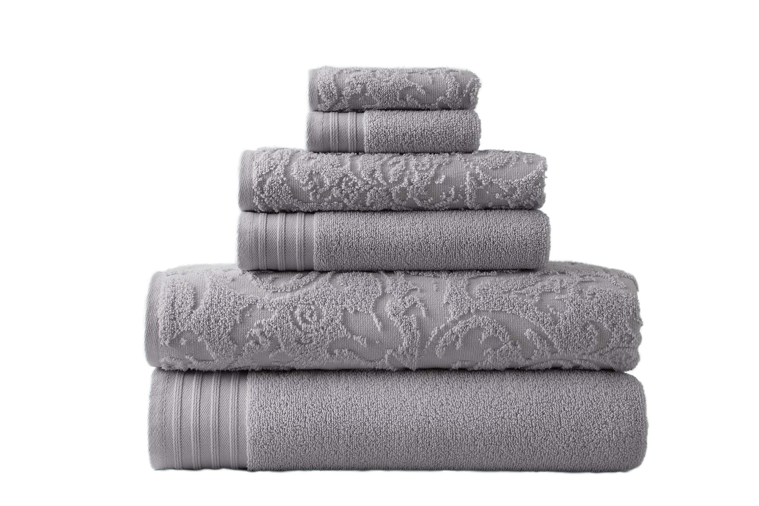 Amrapur Overseas 56JACQLS-PLT-ST 6 Piece Jacquard/Solid Towel Set Leaf Swirl Platinum, Standard