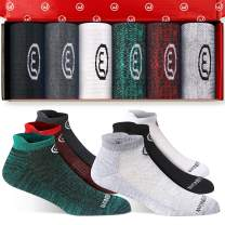 Wonder Young Cushion Ankle Athletic Running Socks for Men&Women Low Cut Sports Tab Socks with Gift Box (6 Pairs)