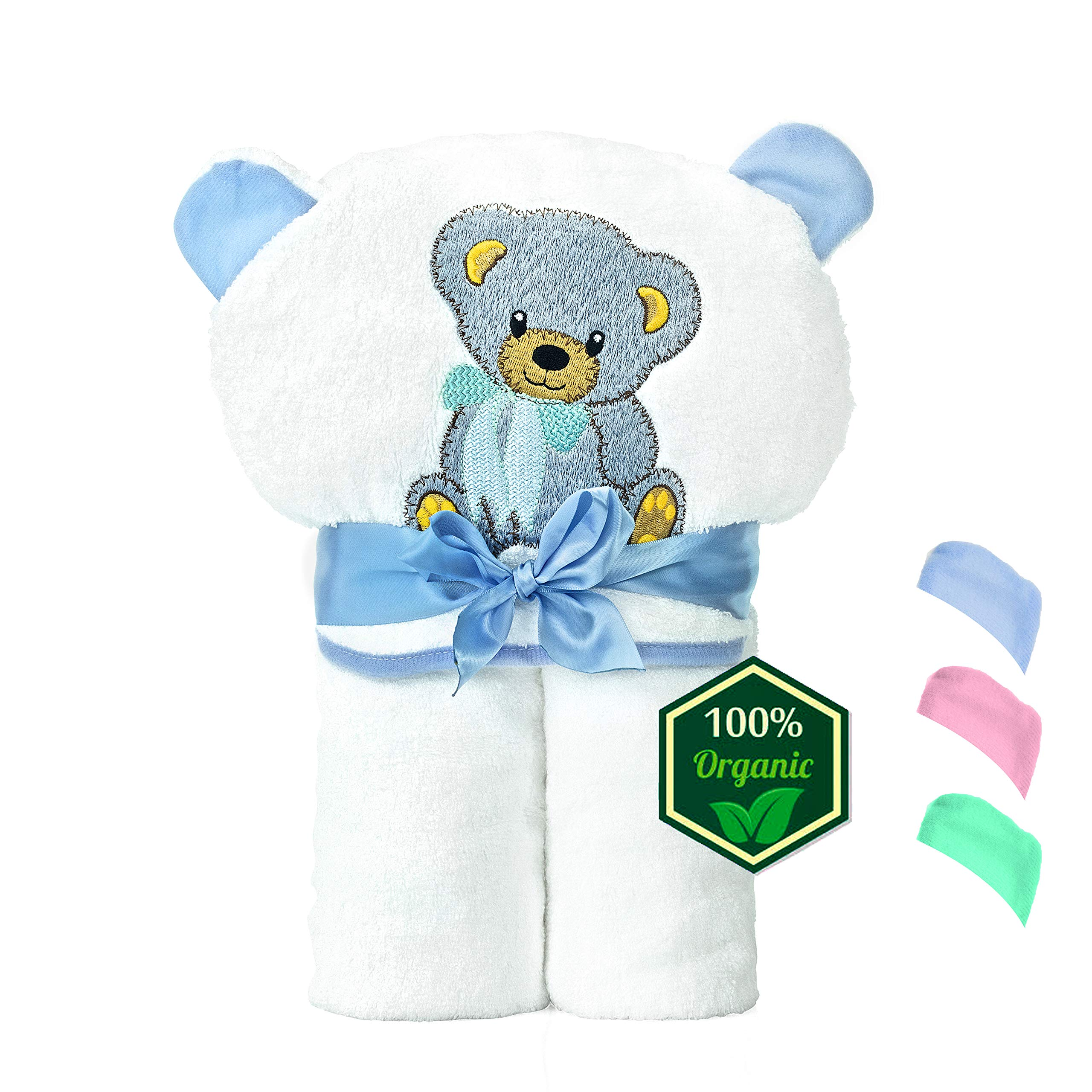 Organic Bamboo Hooded Baby Towel – Soft, Hooded Baby Bath Towels, Large Toddler Bath Towel, Perfect Baby Shower Gift for Baby Boys (Blue)