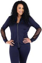 Poetic Justice Curvy Womens Navy Zip Up Activewear Tracksuit Jacket Sheer Panels