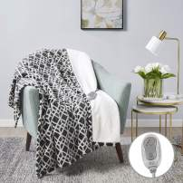 """MP2 Heated Sherpa Plush Throw, Electric Lap Blanket 50"""" x 60"""" with 3 Heating Levels 