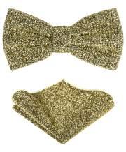 TIE G Men's Glitter Velvet Bow Tie + Pocket Square Set in Gift Box for Wedding, Party : Glittering Effects, Unisex Design