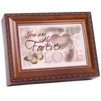 Cottage Garden You are My Forever Love Woodgrain Rope Trim Jewelry Music Box Plays Wind Beneath My Wings