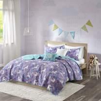 Urban Habitat Kids Lola Twin/Twin Xl Bedding For Girls Quilt Set - Purple, Aqua , Unicorns – 4 Piece Kids Girls Quilts – 100% Cotton Quilt Sets Coverlet