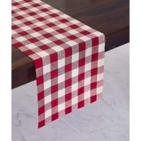 Solino Home 100% Pure Linen Checks Table Runner – Red & White Check Table Runner – 14 x 48 Inch Runner for Dinner, Indoor and Outdoor Use