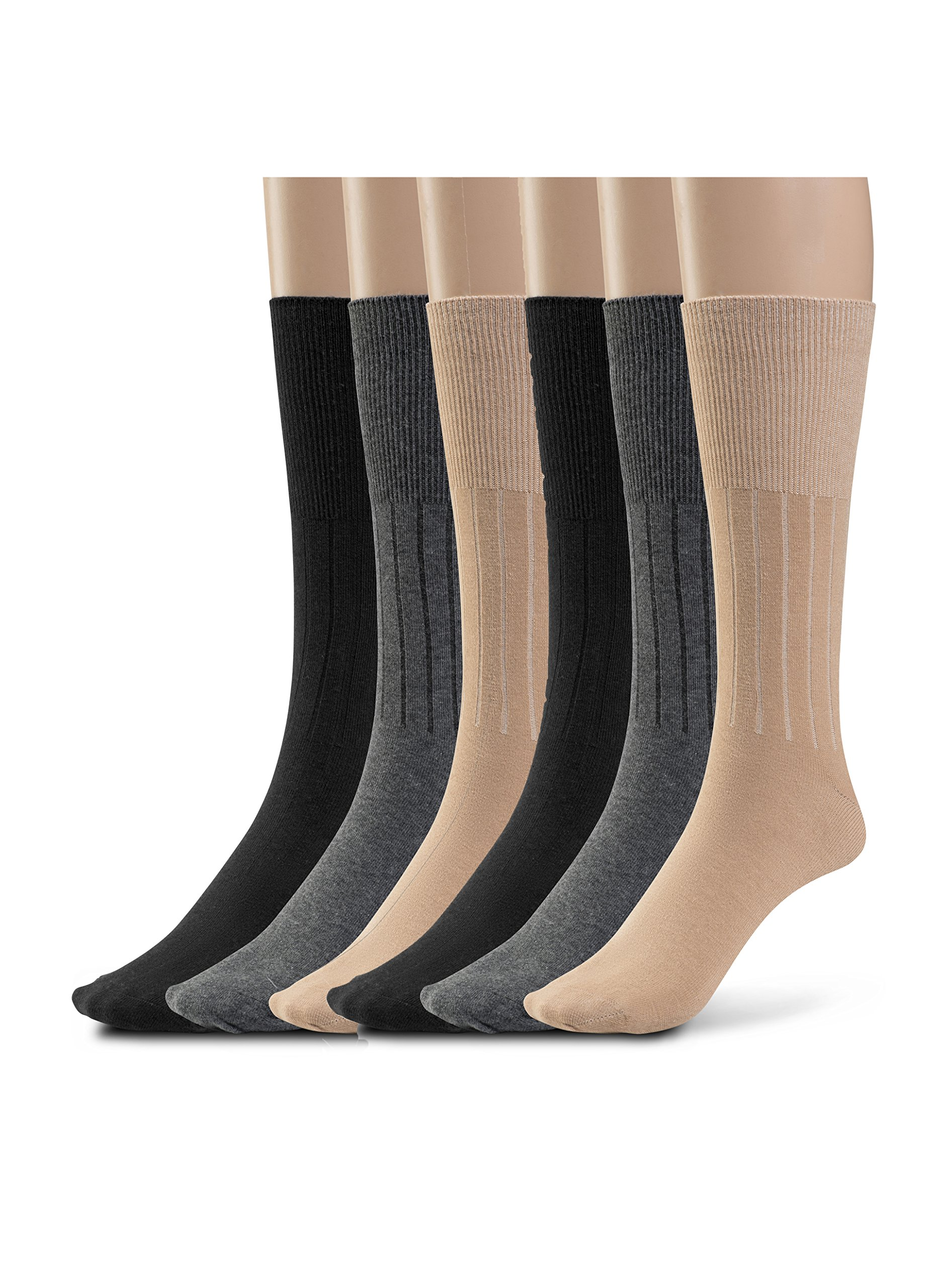 Silky Toes 3 or 6 Pk Men's Diabetic Non Binding Cotton Dress Socks, Multi Colors Also Available in Plus Sizes…