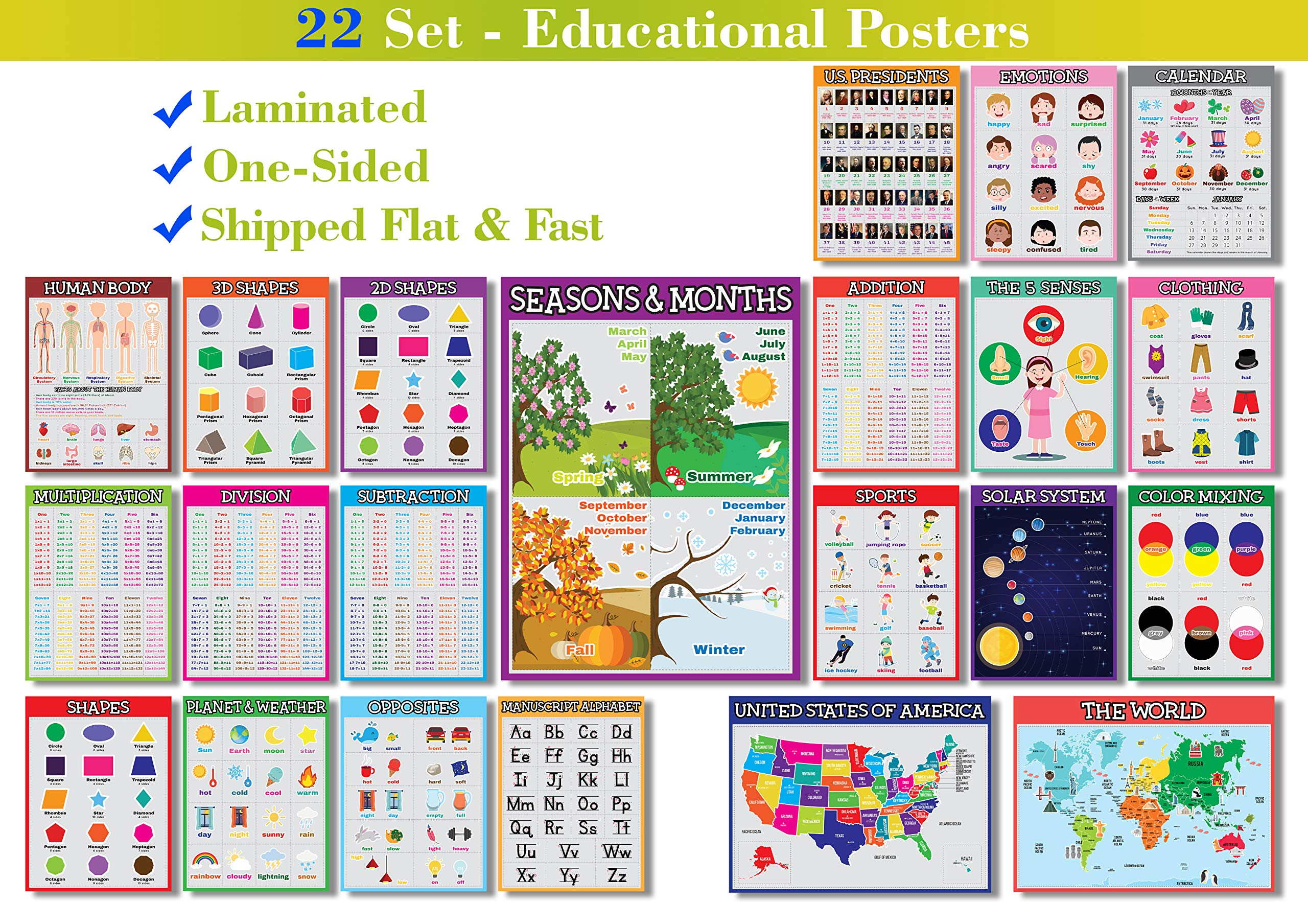 22 Set - We Ship Flat - Laminated Front Only - Educational Posters for Preschoolers, Toddlers, Kids, Kindergarten Classrooms (Laminated - English- One-Sided - 13 X 19 Inches - V1)