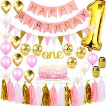 1st Birthday Girl Decorations Premium Party Supplies | Baby Princess First Pink Gold Girls Theme Kit | 1 Year Cake Topper, Happy Bday Banner Number Balloons | Dog, Pig, Cat, Minnie, Bunny, Bambi Set