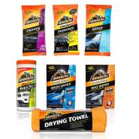 Armor All Car Wash and Interior Cleaner Kit (7 Items) - Includes Towel & Leather, Glass and Protectant Wipes, 19123