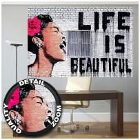 Mural – Banksy Graffiti Artist – Mural Decoration Life is Beautiful Pop Art Street Style Street Art Stencil Street Artists Wallposter Photoposter Wall Decor (82.7 x 55 Inch / 210 x 140 cm)