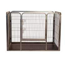 Iconic Pet Heavy Duty Rectangle Tube Pet Training Kennel/Dog Crate in Two Sizes – Pet Exercise Pen with Bottom Tray, Front Facing Door Dog Cage for Easy Access, Easy to Assemble Puppy Playpen