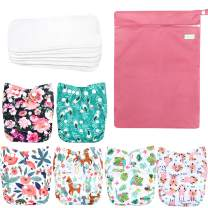 Wegreeco Washable Reusable Baby Cloth Pocket Diapers 6 Pack + 6 Bamboo Inserts (with 1 Wet Bag, Flower)