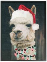 The Stupell Home Décor Collection Christmas Llama Framed Giclee Texturized Art, 11 x 14