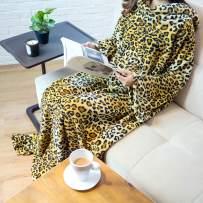PAVILIA Premium Fleece Blanket with Sleeves for Adult, Women, Men   Warm, Cozy, Extra Soft, Microplush, Functional, Lightweight Wearable Throw (Cheetah, Kangaroo Pocket)