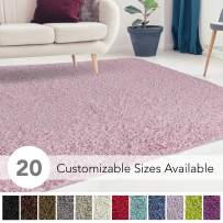 iCustomRug Cozy and Super Soft Plush Solid Shag Rug Ideal to Enhance Your Living Room and Bedroom Decor in 16 Colors / 20 Custom Sizes 6' X 9' Blush Pink