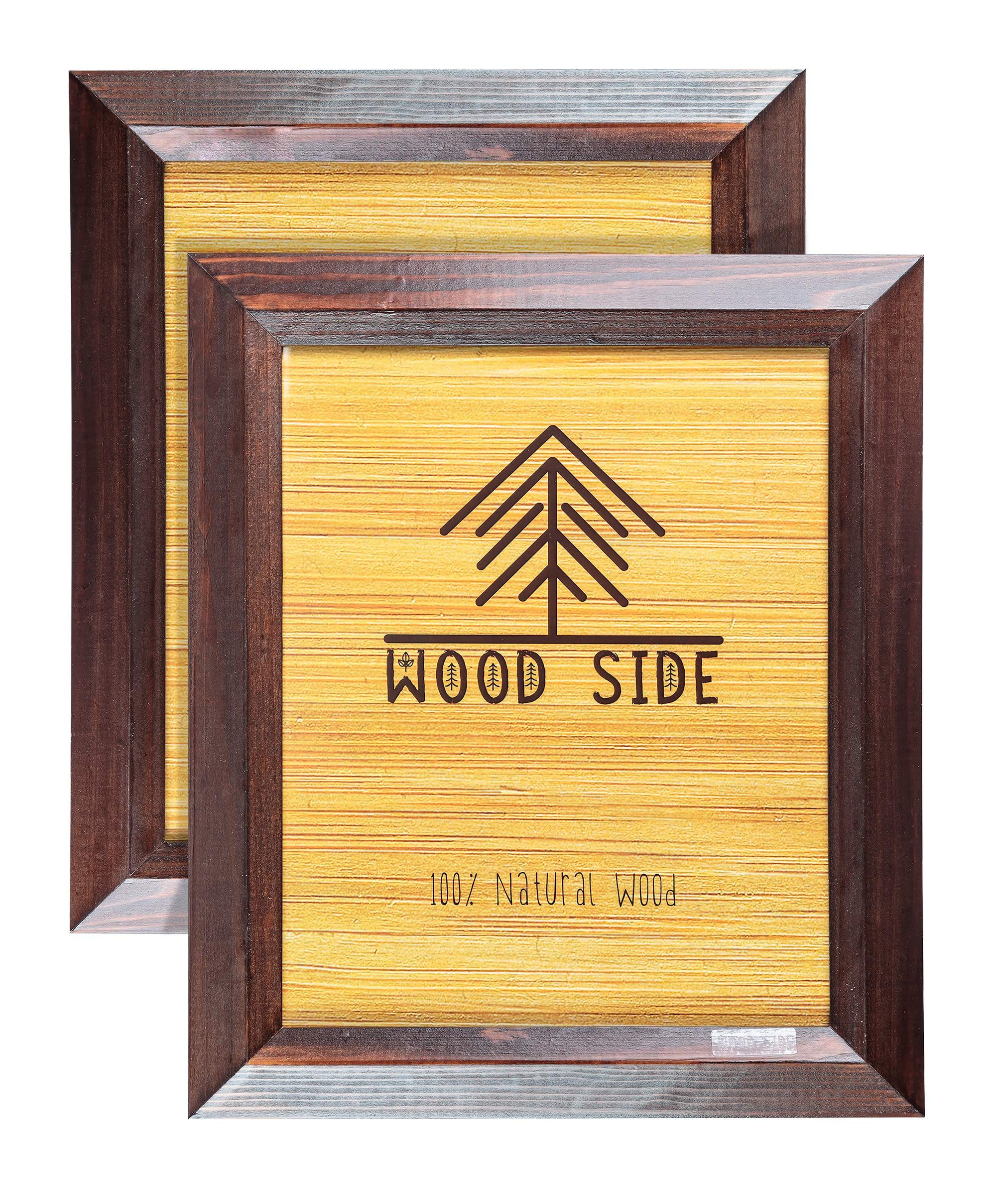 4x6 Wooden Picture Frames Brown - Pack of 2 - Rustic Design - Made of Solid Wood Finish Beveled Profile with Real Glass for Wall Mounting and Tabletop Photo Frame