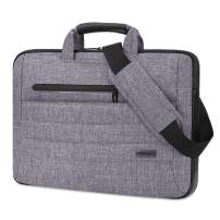 BRINCH Laptop Bag for Men Women Slim Light Business Briefcase Shoulder Messenger Bag Water Resistant Portable Computer Carrying Sleeve Case w/Strap and Hidden Handle Fits 14-14.6 Inch Laptop, Gray