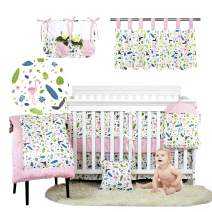 Brandream Crib Bedding Sets for Girls Pink Flamingo Nursery Bedding with Bumper Pad 11 Pieces Jungle Animal Cradle Set, Feather& Birds