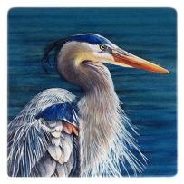 Blue Heron Wooden Coaster - Watercolor Art by Colleen Nash Becht