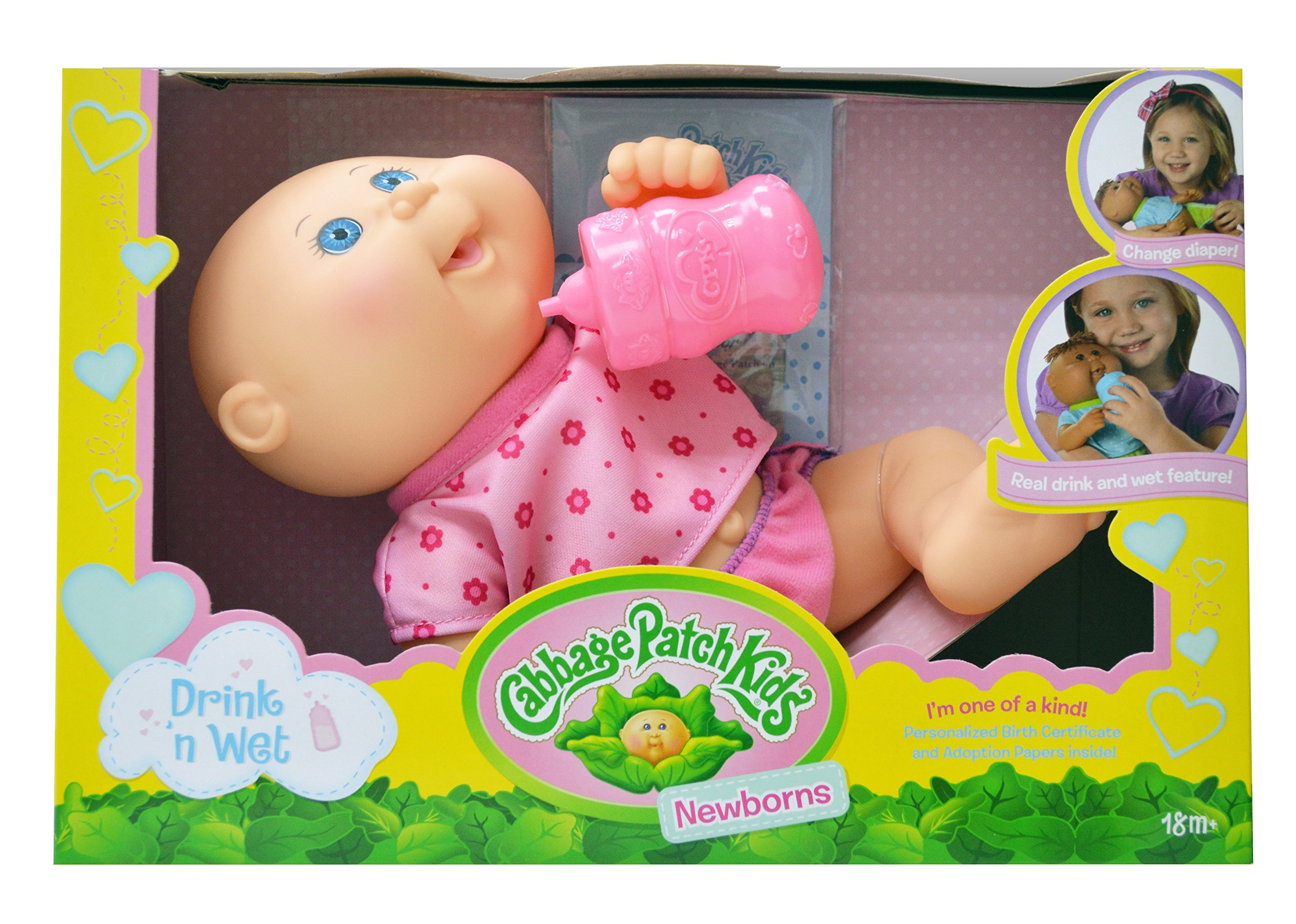 Cabbage Patch Kids, Drink N' Wet Newborn Baby Doll - Baby Girl in Pink Flower Fashion