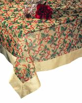 SARO LIFESTYLE XJ378 Xmas Oblong Tablecloth, 65-Inch by 104-Inch, Gold