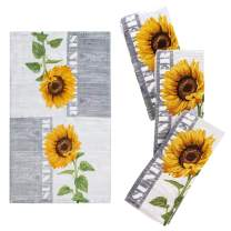 "Franco Kitchen Designers Set of 4 Decorative Soft and Absorbent Cotton Dish Towels, 15"" x 25"", Sunflower Country"