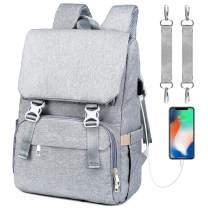 Diaper Bag Backpack, Large Capacity Baby Bag Anti-Water Maternity Nappy Bag Changing Bags Built-in USB Charging Port (Grey)
