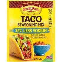 Old El Paso Taco Seasoning Mix, 25% Less Sodium, 32 Packets, 1 oz
