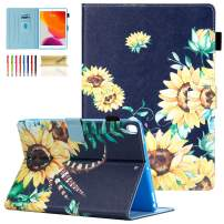 Dteck Case for iPad 10.2 2019 7th Generation - Slim Multiple Viewing Angles Stand Premium Leather Wallet Case with Auto Wake/Sleep & Pencil Holder Shockproof Smart Protective Cover, Sunflowers