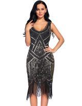 Women's Vintage 1920s Fringed Gatsby Sequin Beaded Tassels Hem Flapper Dress