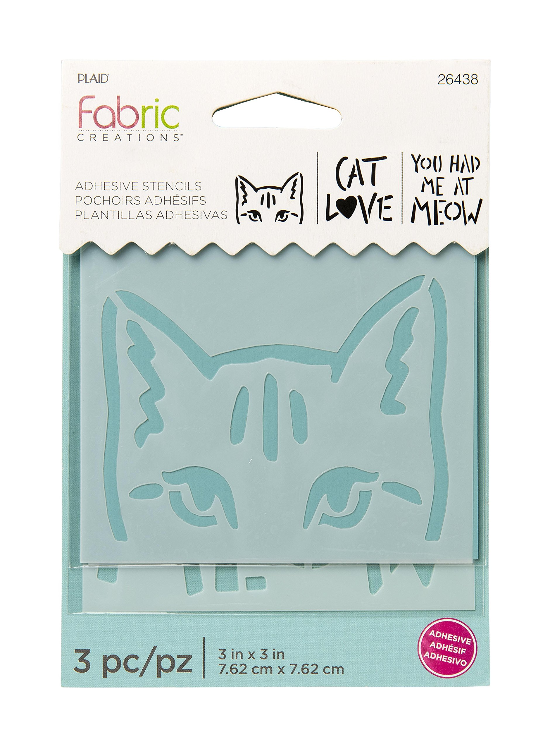 """Fabric Creations 26438 Adhesive Cat Stencil, 3"""", Clear"""