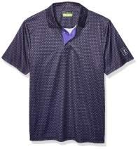PGA TOUR Men's Short Sleeve Mini All Over Printed Polo Shirt