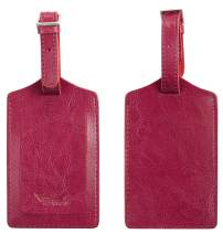 BSWolf Genuine Leather Luggage Tag Travel Suitcase Bag Baggage Tags 2 pcs Set (vintage red rose deep 145)