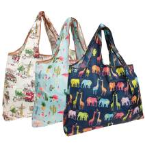allydrew Large Foldable Tote Nylon Reusable Grocery Bag, 3 Pack, Expedition