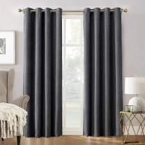 "Sun Zero Manor Chenille Theater Grade Extreme 100% Blackout Grommet Curtain Panel, 52"" x 95"", Smoke"