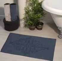 "Hand Woven 100% Cotton Damask Bath Rug Floor mat for Spa Vanity Shower Machine Washable Bath Rugs for Bathroom/Kitchen Water Absorbent Anti-Skid Bedroom Area Rugs (24"" x 40"", Dark Grey)"