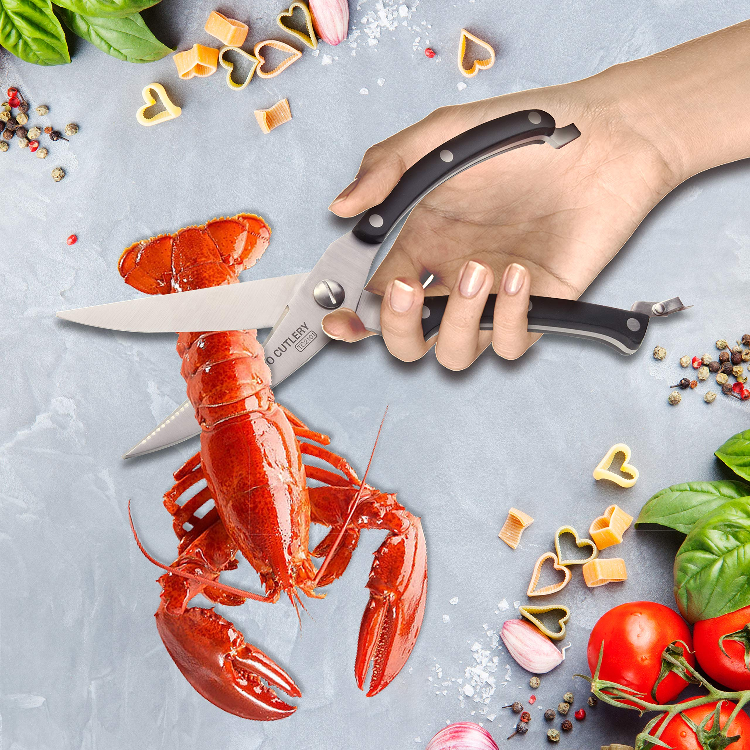 WALLOP Kitchen Poultry Shears Heavy Duty Scissors Excellent for Cutting Chicken Fish Bone Beef Meat Cutter Knife, Clever Smart Food Cutter,Multi-funtional Dishwasher Safe Cooking Utensil