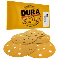 """Dura-Gold - Premium - 220 Grit - 6"""" Gold Sanding Discs - 17-Hole Pattern Dustless Hook and Loop for DA Sander - Box of 50 Finishing Sandpaper Discs for Woodworking or Automotive"""
