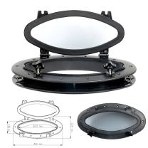 """Amarine-made Boat Yacht Elliptical Oval Opening Portlight Porthole 16"""" X 8-5/8"""" Replacement Window Port Hole - ABS, Tempered Glass, Color: White, Black"""