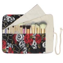 12 Pockets Makeup Brushes Rolling Case Pouch Holder Cosmetic Bag Organizer Case with Belt Strap, NO BRUSHES (Black Rose)