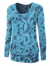 LL Womens Tie-Dye Long Sleeve Front and Back Shirring Raglan Top - Made in USA