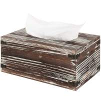 MyGift Torched Wood Rectangular Facial Tissue Box Cover with Hinged Lid