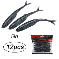 RUNCL ProBite Soft Jerkbaits 3/4/5in, Swimbaits Flat Paddle/Split/Thin Tail, Soft Fishing Lures 20/15/12pcs - Baitfish Profile, Eco-Friendly Materials, Weedless Design, Proven Colors - Shad Baits
