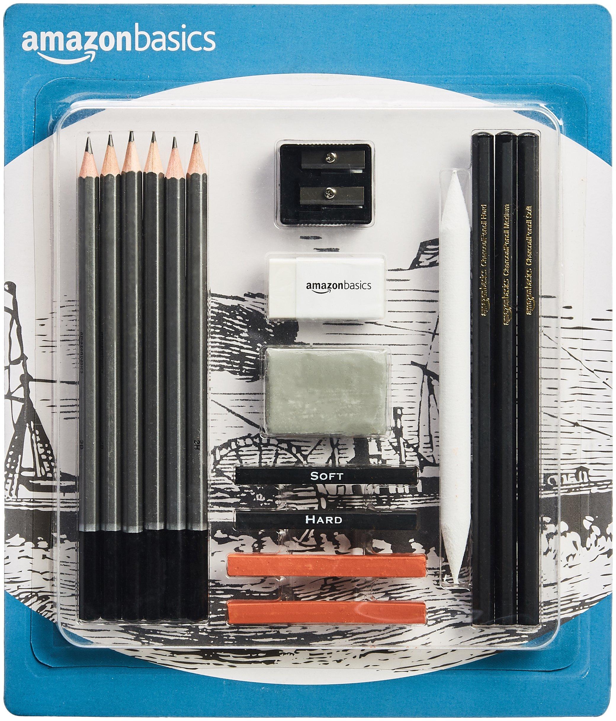 AmazonBasics Sketch and Drawing Art Pencil Kit - 17-Piece Set