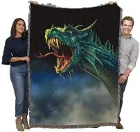 Pure Country Weavers Dragon Woven Throw Blanket for Grandson Large Soft Comforting 100% Cotton Made in USA 72x54