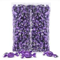 Purple Foils Hard Candy, 1.32 Pounds Bag of Purple Color Themed Kosher Mini Candies Individually Wrapped Grape Fruit-Filled Flavored Candy (NET WT 600g, About 310 Pieces)