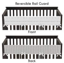 Sweet Jojo Designs Grey and White Boho Tribal Herringbone Arrow Unisex Boy or Girl Baby Long Front Crib Rail Guard Teething Cover Protector Wrap for Gray Woodland Forest Friends Collection